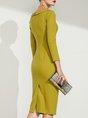 Yellow Elegant Bodycon Solid Midi Dress