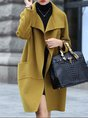 Mustard Solid Elegant Long Sleeve Coat