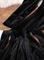 Turtleneck Black Solid Elegant Midi Dress