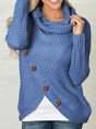 Casual Turtleneck Asymmetrical Buttoned Plain Long Sleeve Sweater