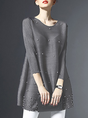 Crew Neck  Work  A-Line Date Beaded Tunic
