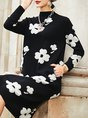 Black-White Casual Floral Sweater Dress