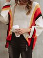 Women Long Sleeve Casual Color-Block Sweater