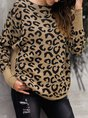 Printed Casual Shift Leopard Print Sweater