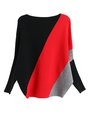 Color-block Knitted Batwing Casual Sweater
