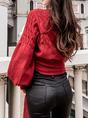 Knitted Balloon Sleeve Elegant Sweater