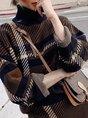 Stripes Turtleneck Elegant Top with Skirt Set