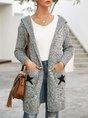 Light Gray Geometric Acrylic Long Sleeve Hoodie Outerwear