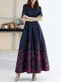 V neck Floral Printed Elegant Maxi Dress