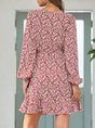 Surplice Neck Red Floral Holiday Midi Dress