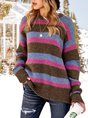 Women Crew Neck Long Sleeve Striped Paneled Sweater