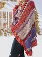 Women Wrap Fringed Tribal Ponchos
