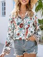 Apricot Bell Sleeve Floral Printed Blouse