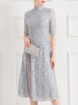 Guipure Lace Slit Elegant Midi Dress