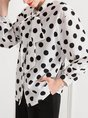 Tie-neck Polka Dots Shift Casual Blouse