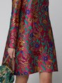 Printed Graphic Sheath Elegant Midi Dress