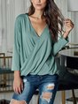 Daily Solid  Long Sleeve Casual Top