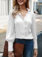 Rose Red Balloon Sleeve Buttoned Casual Blouse
