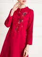 Embroidered Graphic Holiday Linen Dress