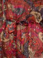 V Neck Multicolors Floral-Print Mini Dress