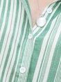 Green White Ramie Striped Long Sleeve Blouse
