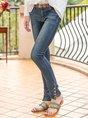 Solid Denim Solid Zipper Casual Jean