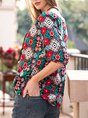 Multicolors Floral Embroidery Romantic Top