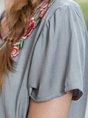 Grey Short Sleeve V-Neck Linen Tops