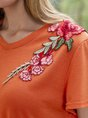 Plain Embroidery Short Sleeve Crew Neck Top