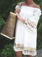Solid Shor Sleeves Tassel Vacation Dress