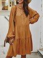 Casual Solid Daily Shift Midi Dress