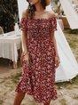 Floral-prints Holiday Beach Midi Dress