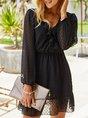 V Neck Holiday Swiss-dot Beach Solid Dress