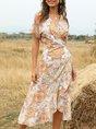 Surplice Neck Orange Shift Printed Midi Dress