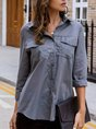Gray Casual Work Long Sleeve Solid Blouse