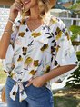 Lace-Up Holiday 3/4 Sleeve Floral Blouse