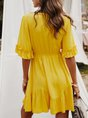 Ruffled Drawstring A-line Casual Midi Dress