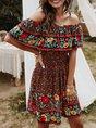 Horizontal Neck Holiday Holiday Printed Midi Dress