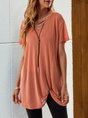Pink Crew Neck Shift Short Sleeve Tunic
