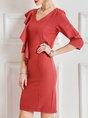 Ruffled Sheath Elegant Midi Dress
