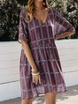 Sundress Plaid V Neck Short Sleeve Dresses