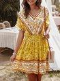 V Neck  A-Line Holiday Floral  Midi Dress
