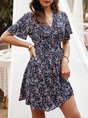V Neck Floral-Print Boho Mini Dress