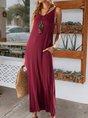 Sundress V Neck Boho Solid Maxi Dress