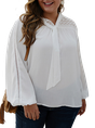 Plus Size White Long Sleeve Solid Eyelet Blouse