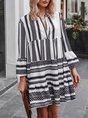 Sundress Bell Sleeve Vintage Geometric Midi Dress