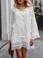 Solid Long Sleeve Fringed Mini Dress