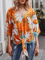 Floral Half Sleeve Lace-up Blouse