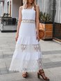 White Square Neck Lace Paneled Maxi Dress