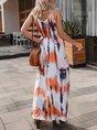 V Neck Shift Beach Gradient Maxi Dress